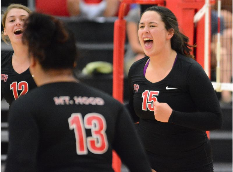 OUTLOOK PHOTO: DAVID BALL - Mt. Hoods Maddie Pernich lets out a shout after unleashing one of her team-high 17 kills in the teams sweep over Yakima Valley on Friday.