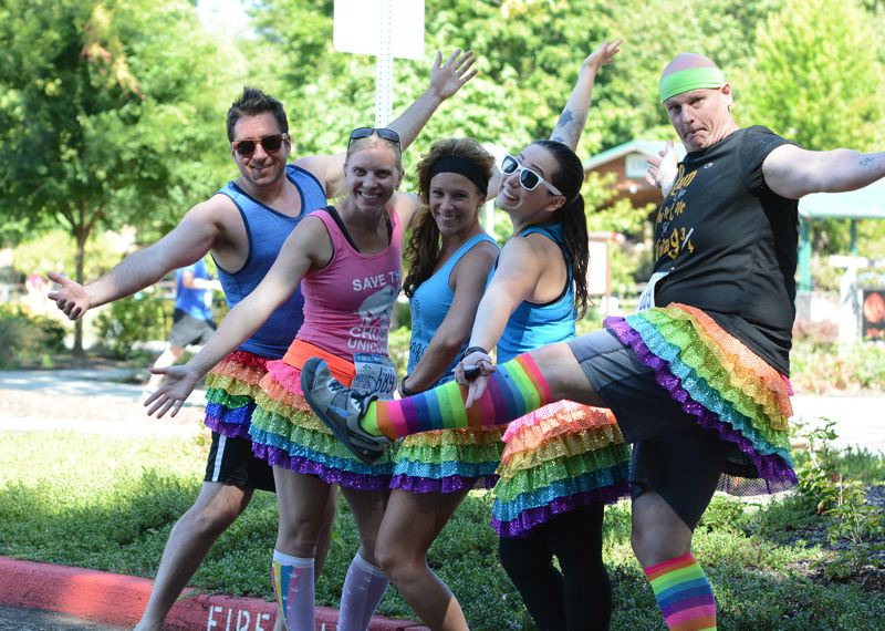 OUTLOOK PHOTO: DAVID BALL - Members of the Twelve Hotties and a Squatty Potty team show off their racing costumes inspired by a popular YouTube video. The team has members up and down the West Coast from the Canadian border to Eugene.