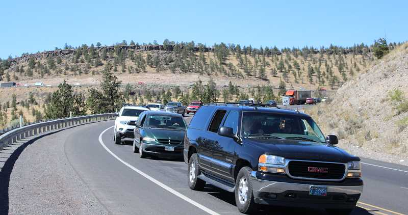 CENTRAL OREGONIAN FILE PHOTO - Thousands of vehicles pour into Prineville on Wednesday afternoon before the eclipse, causing a bumper-to-bumper traffic jam several miles long.