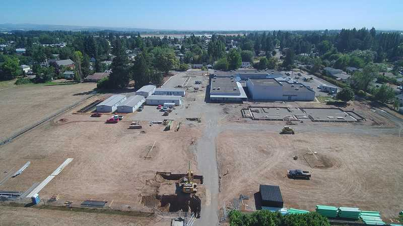 COURTESY PHOTO: WOODBURN SCHOOL DISTRICT - Much of Washington Elementary School's campus underwent demolition and excavation this summer, as shown in this photo.