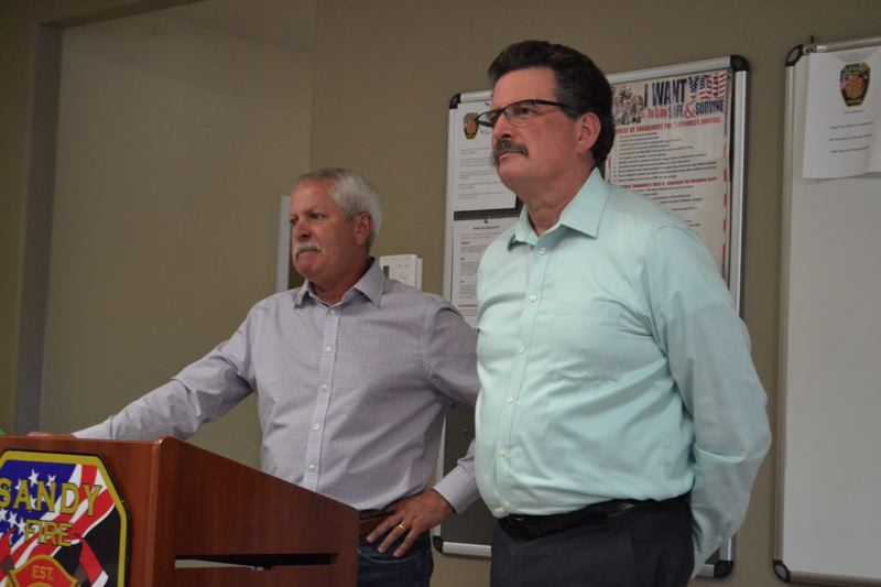 POST PHOTO: BRITTANY ALLEN - Rep. Mark Johnson and Sandy Mayor Bill King gave updates and fielded questions from chamber members at the Sandy Area Chamber of Commerce's Grow With Us Luncheon on Wednesday, Aug. 23.