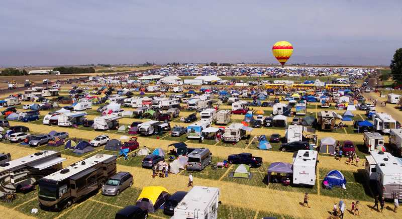 DRONE PHOTO BY CANON BROWNELL - SolarTown, put on by the Jefferson County Tourism Group, packed thousands of visitors into well-laid camping spots north of Madras.