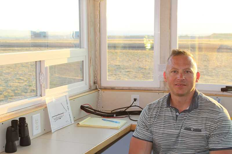 HOLLY M. GILL - Alex Fugate, of Klamath Falls, a co-owner of Aegis ATC, a mobile air traffic control company, brought a mobile unit to the Madras Municipal Airport to help as many as 60 aircraft per hour leave after the eclipse. A total of 475 flew in for the eclipse, including prominent businessmen and celebrities.
