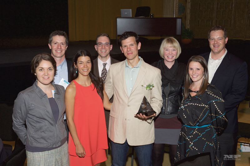 COURTESY: TAO    - Sam Blackman in 2015, with his wife Adriane, and colleagues, when he was named Technology Leader of the year by the Technology Association of Oregon. AWS Elemental makes software for managing multiple video streams for huge events such as the Olympics as well as customers such as Netflix and Amazon Video.