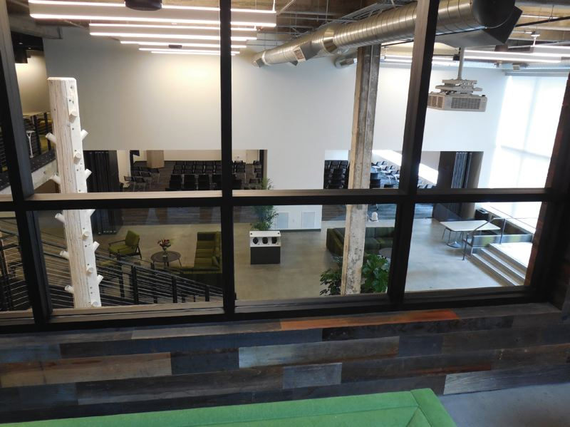 PAMPLIN MEDIA GROUP: JOSEPH GALLIVAN  - A view of the communal area at Amazon and AWS Elemental's new office. Blackman moved into the building at 1320 S.W. Broadway, which was remodeled by Allied Works, on Friday August 18.