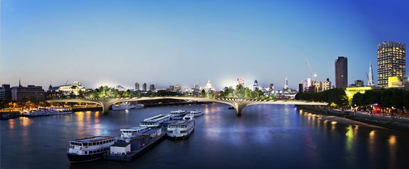 CONTRIBUTED PHOTO AND COURTESY: FORGEMIND ARCHIMEDIA/THOMAS HEATHERWICK - Although recently cancelled, Londons Garden Bridge was designed to be a place that could both serve as a bridge, but also as a place to hang out.