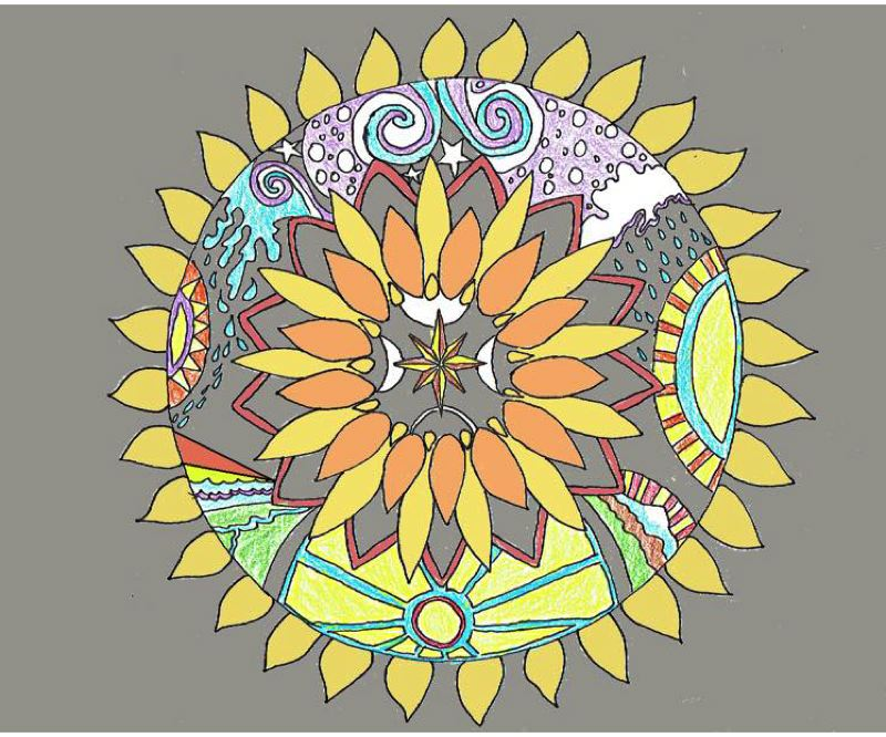 SUBMITTED PHOTO - This sunflower design is proposed to be painted in the 11th/Jefferson street intersection.