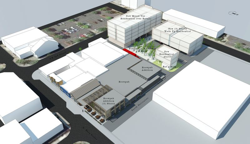 COURTESY MIKE MCKEEL  - A bird's eye view of the 65,000-square-foot block between Miller and Main avenues in historic downtown Gresham. Plans for a three-story residential walkup, shown here, have already been nixed.