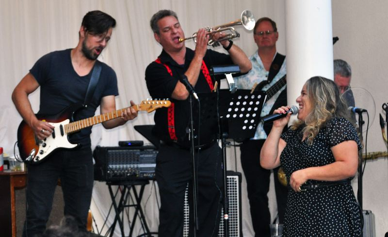 PHOTO COURTESY: TOM UNGER - Rae Gordon was backed by her six-piece Rae Gordon Band as about 50 people attended the Aug. 24 benefit concert.