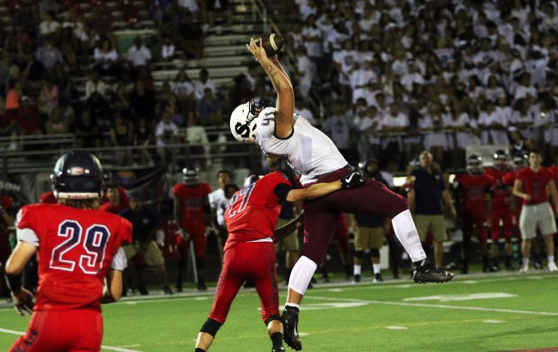 DAN BROOD - Sherwood senior tight end Sterling Goldstein goes up high to make this fourth-quarter catch during the Bowmen's 34-12 win at Westview on Friday.