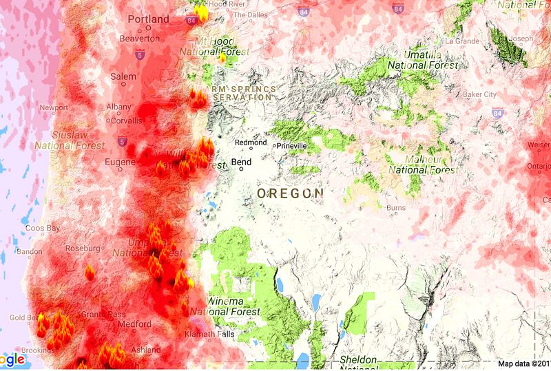 (Image is Clickable Link) COURTESY MAP: OREGON SMOKE BLOG - A map shows where wildfire smoke will drift beginning Tuesday, Sept. 5. Dozens of fires are burning across the state.