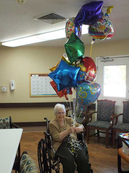 COURTESY PHOTO: SILVER CREEK ASSISTED LIVING - Tillie Berndt pictured on her 101st birthday at Silver Creek Assisted Living.