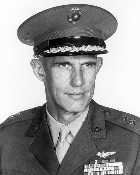 COURTESY PHOTO: NATIONAL ARCHIVES CATALOG - Maj. Gen. Marion Eugene Carl was the U.S. Marines' first flying ace in World War II. Pictured here in 1967, Carl grew up in Hubbard and is memorialized in the town with a monument.
