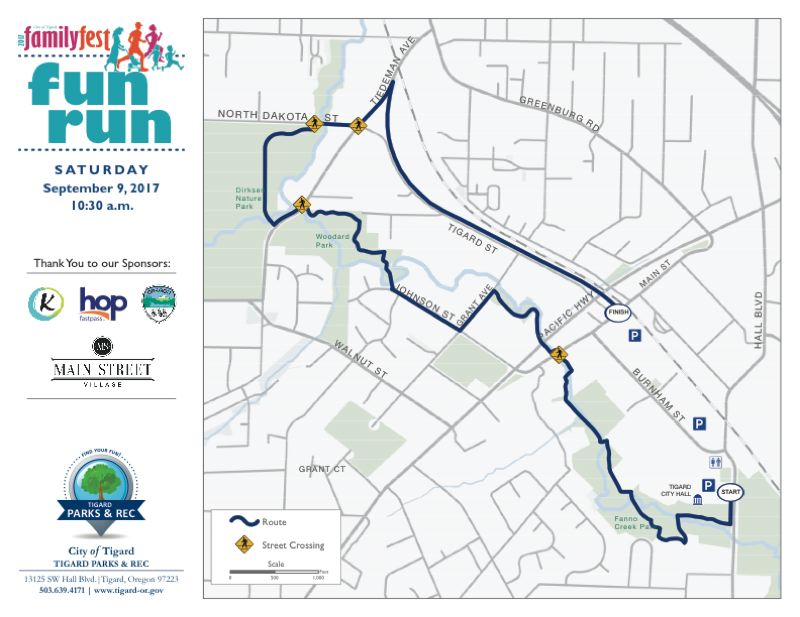 COURTESY OF THE CITY OF TIGARD - The Family Fest Fun Run will take runners and walkers from Tigard City Hall along the Fanno Creek Trail, through Woodard and Dirksen Nature parks, and down the Tigard Street Trail to the site of the Explore Downtown Tigard Street Fair on Saturday.