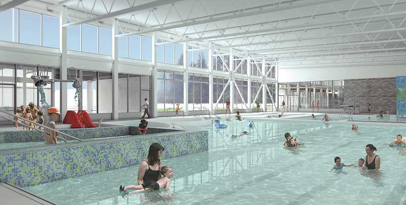 ARCHIETCURAL RENDERING COURTESY OF CPRD - Although work on the new Chehalem Park and Recreation District aquatic center on Haworth Avenue is moving along swiftly, some plans for renovations of the original pool are held up due to cost overruns.
