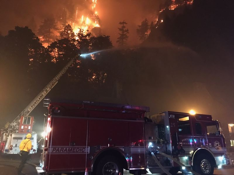 COURTESY PHOTO: PF&R - Portland Fire & Rescue sent equipment Tuesday to help East Multnomah County fire departments deal with the Eagle Creek Fire in the Columbia River Gorge.