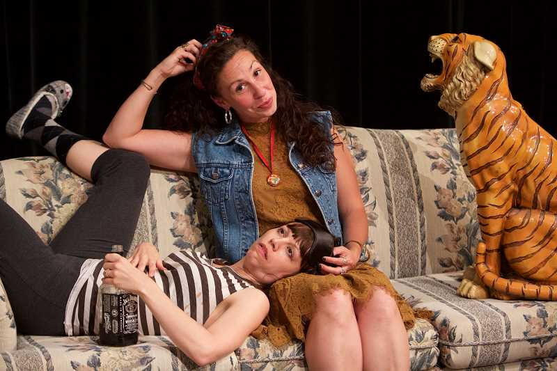 PHOTO BY CRAIG MITCHELLDYER - Clackamas Repertory Theatre presents the offbeat comedy Tigers Be Still through Oct. 1, here with Annie Rimmer and Heather Ovalle..