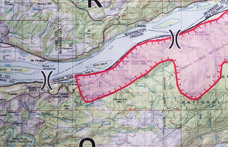 OUTLOOK PHOTO: JOSH KULLA - A map shows the current extent of the Eagle Creek fire on Tuesday, Sept. 5.