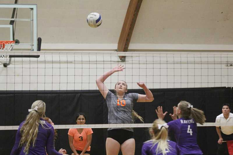 WILL DENNER/MADRAS PIONEER - Maddie Miller helped Culver hang even with Ridgeview at the start of the third set last Wednesday with two kills, but Ridgeview ultimately won the set 25-17 to complete the straight set win.