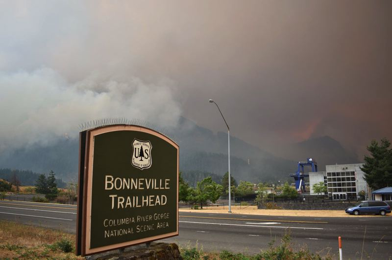 PHOTO COURTESY OF MARK SEGULJIC - Smoke from the Eagle Creek fire obscures the Bonneville Trailhead in the Columbia River Gorge.