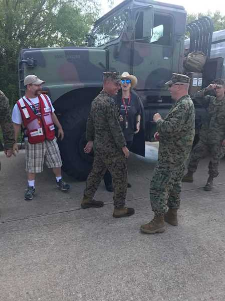 COURTESY PHOTO - Marines helped the American Red Cross get supplies into Beaumont on Sept. 2.