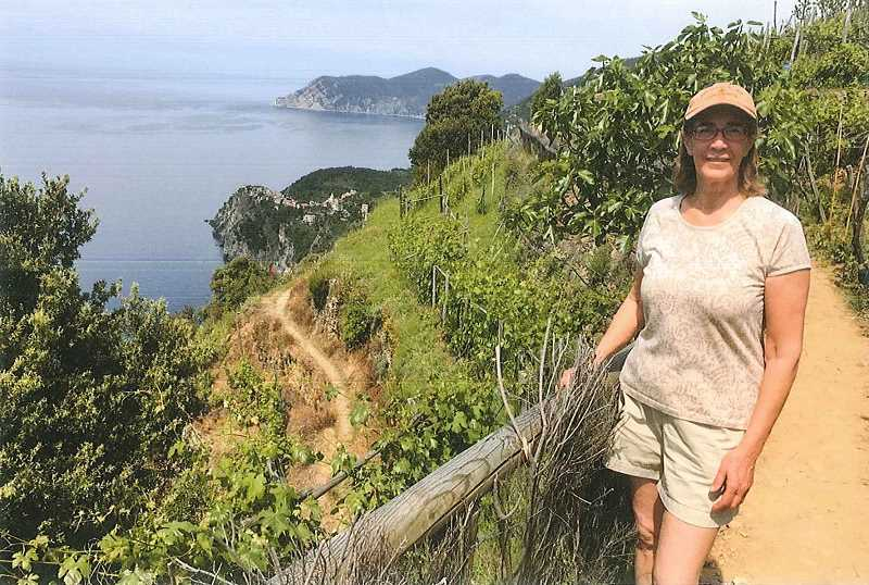 MATHENY PHOTO - The author takes in the view on the high road from Manarola to Corniglia.