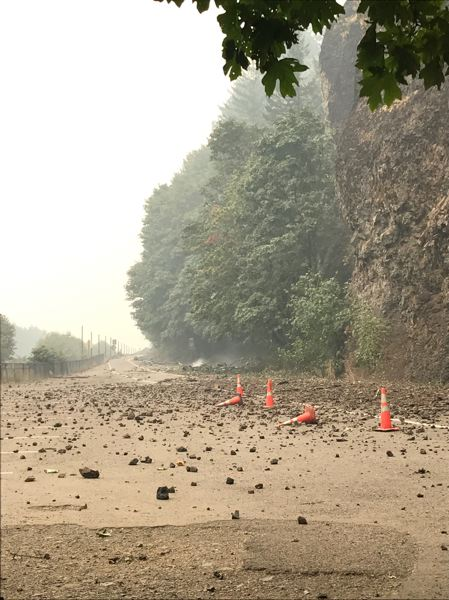 COURTESY PHOTO: REBECCA STAVENJORD/MULTNOMAH COUNTY - Falling rocks are a common sight along the Historic Columbia River Highway.