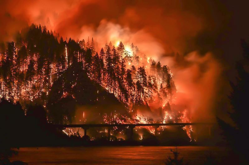 COURTESY PHOTO - The Eagle Creek Fire rages in the Columbia River Gorge earlier this week, allegedly lit by a 15-year-old boy who was playing with fireworks along the Eagle Creek Trail.