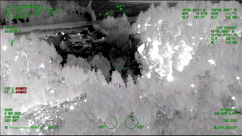 COURTESY PHOTO - This infrared image taken by a surveillance aircraft shows fire surrounding Multnomah Falls at 2:28 a.m. Wednesday, Sept.6.