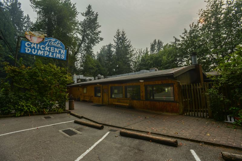 OUTLOOK PHOTO: JOSH KULLA - The popular Tad's Chicken 'n Dumplins in Troutdale was closed Wednesday afternoon, as the area east of the Sandy River remained under a Level 2 evacuation notice.