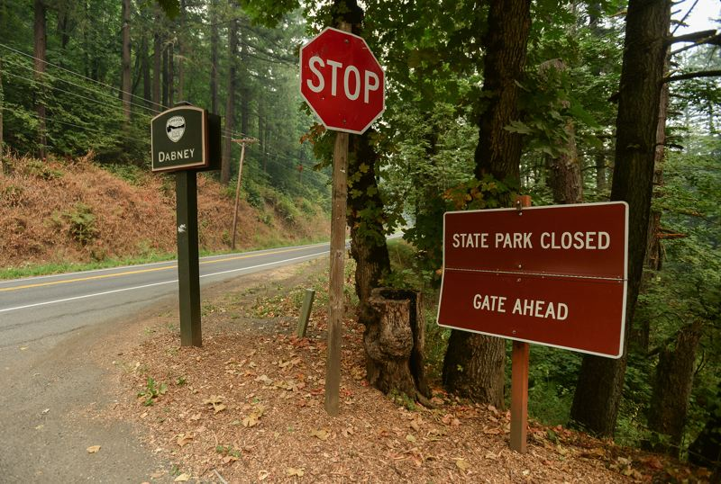 OUTLOOK PHOTO: JOSH KULLA - Dabney State Park and other recreation areas along the Sandy River were either closed or deserted Wednesday as smoke from the Eagle Creek Fire filled the air and kept the area under a Level 2 evacuation notice.
