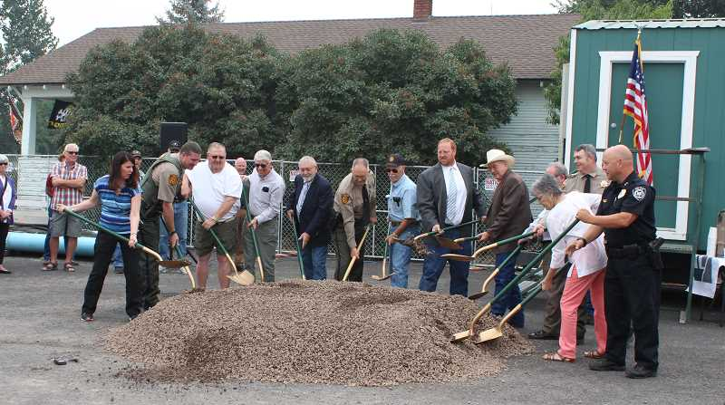HOLLY SCHOLZ/CENTRAL OREGONIAN  - Fourteen community partners participated in the jail groundbreaking ceremony.