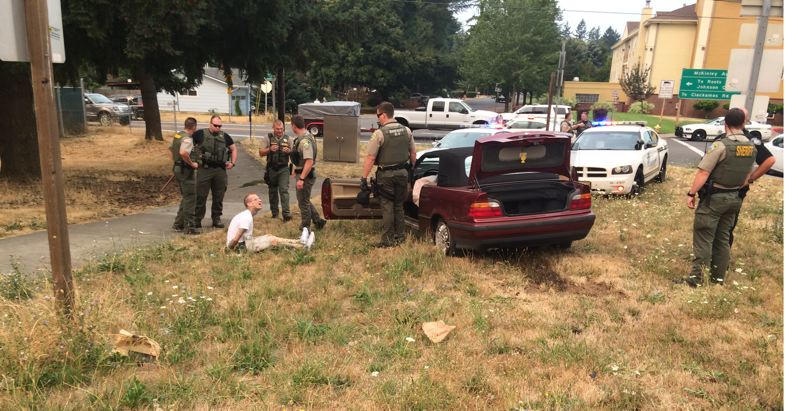 PHOTO COURTESY: CCSO - Ryan Douglas Vanhorn surrenders to police upon stepping out of the stolen vehicle on Labor Day.