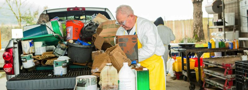 COURTESY OF METRO  - Metro workers accept a pickup load of potential hazardous materials dropped off the Metro facility.