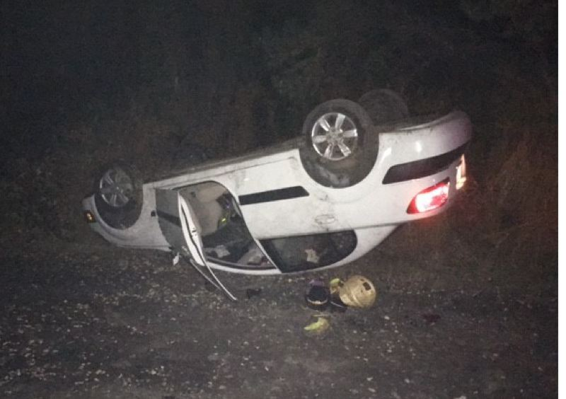 MULTNOMAH COUNTY SHERIFF'S OFFICE - Two people were injured when this 2007 Kia flipped on Southeast Foster Road.