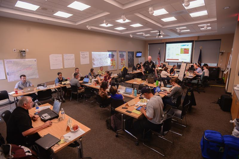 COURTESY MULTNOMAH COUNTY - Staffers from across local and state government set up an emergency operations center in Troutdale to evaculate, shelter and inform members of the public as the fire grew.
