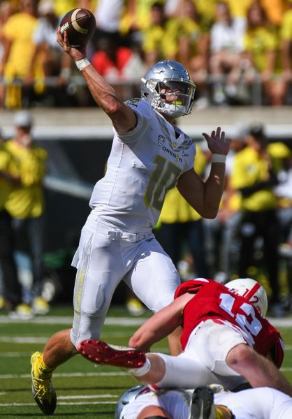TRIBUNE PHOTO: JOSH KULLA - University of Oregon quarterback Justin Herbert has good numbers so far as a sophomore, and UO is 2-0, but the offense stalled against Nebraska in the second half, when Herbert had few passing opportunities.