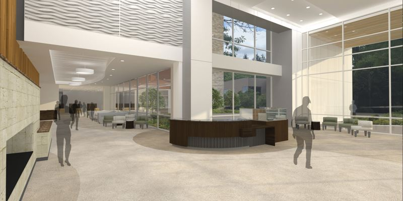 COURTESY OF LEGACY HEALTH - A conceptual illustration shows how the ground floor of a patient tower planned at Legacy Meridian Park Medical Center might look once it is completed.