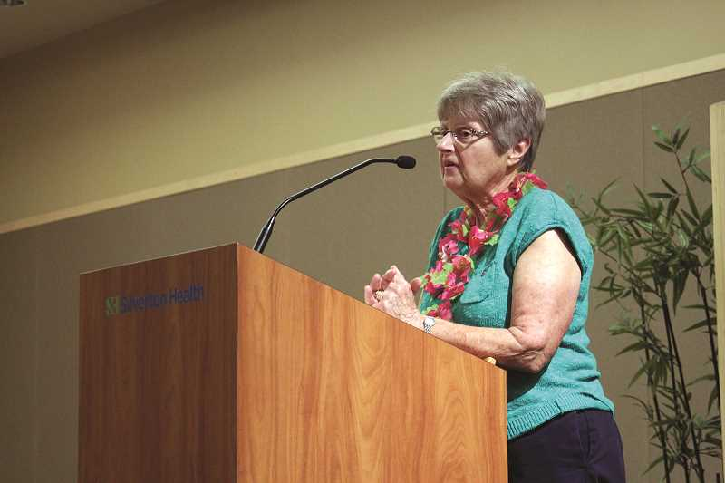 PHIL HAWKINS - Patricia Hershberger shared her experience as the wife of a longtime Woodburn Fire District volunteer at the First Responders Family Recognition event on Saturday.