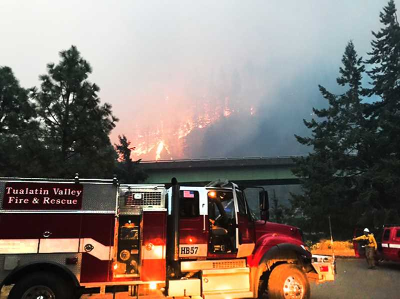 PHOTO COURTESY OF TVF&$ - Tualatin Valley Fire & Rescue personnel have responded to the three largest fires in Oregon over the past month and continue to be deployed from their home bases during this busy fire season.