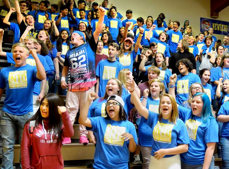 SETH GORDON - Members of the Newberg High School class of 2021 learn some cheers at 'Freshman First Day' Sept. 5. The freshmen had the school to themselves to acclimate themselves to the building, meet their teachers and ask questions.