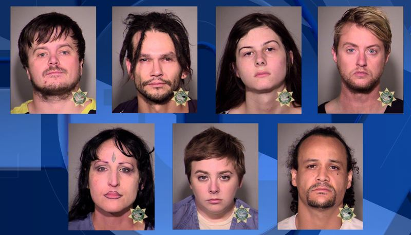 MULTNOMAH COUNTY SHERIFF'S OFFICE - Police arrested seven people during Sunday's downtown protest.