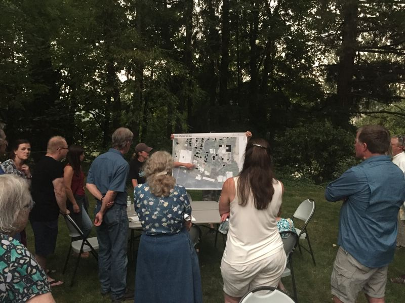 SPOKESMAN PHOTO: CLAIRE GREEN - Residents of Old Town gathered for the Boones Ferry Park Master Planning kickoff event Sept. 5. Help in the park, attendees shared their visions for the redesign of the park.