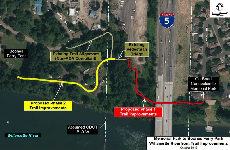 SUBMITTED PHOTO - For Phase 1 of the I-5 Undercrossing Trail Improvement project, the existing trail connecting Memorial Park and Boones Ferry Park will be brought up to ADA requirements while improving the pavement, adding stormwater management features, infrastructure for future trail lighting and landscaping.