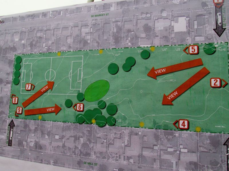 OUTLOOK PHOTO: TERESA CARSON - The diagram shows the siting of Lynchview Park. A soccer field will likely stay at the west end of the park, but be improved.