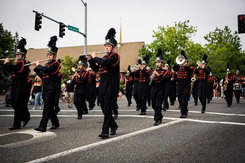 PHOTO FOR THE TIMES: ADAM WICKHAM - The Beaverton High marching band performs at the Beaverton Celebration Parade.