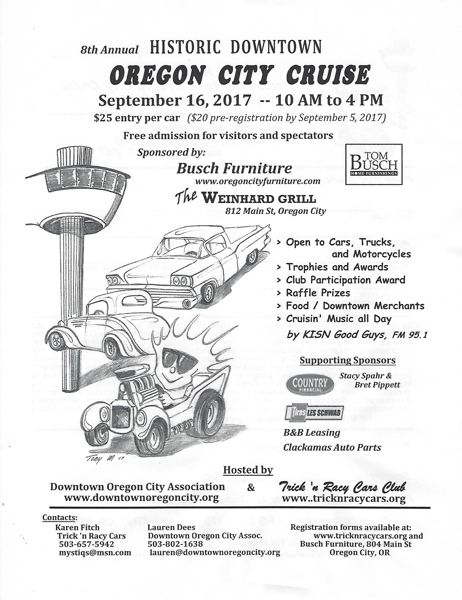 CONTRIBUTED - The Historic Dontown Oregon City Cruise and Show is this Saturday, Sept. 16.
