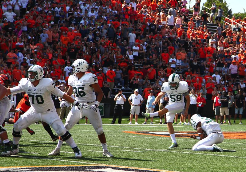 COURTESY: LARRY LAWSON - Graycen Kennedy of Portland State attempts a 46-yard field goal on the final play of the Oregon State game.