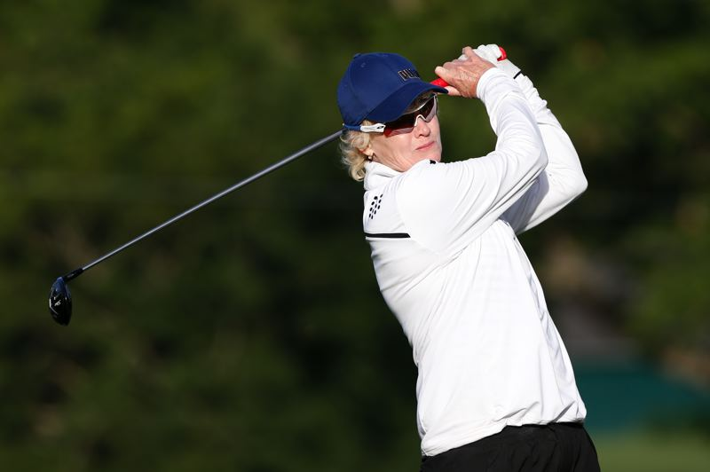 COPYRIGHT USGA/STEVEN GIBBONS - Terrill Samuel tees off at Waverley Country Club on Wednesday, when she won two matches to reach the Thursday final of the U.S. Senior Women's Amateur.