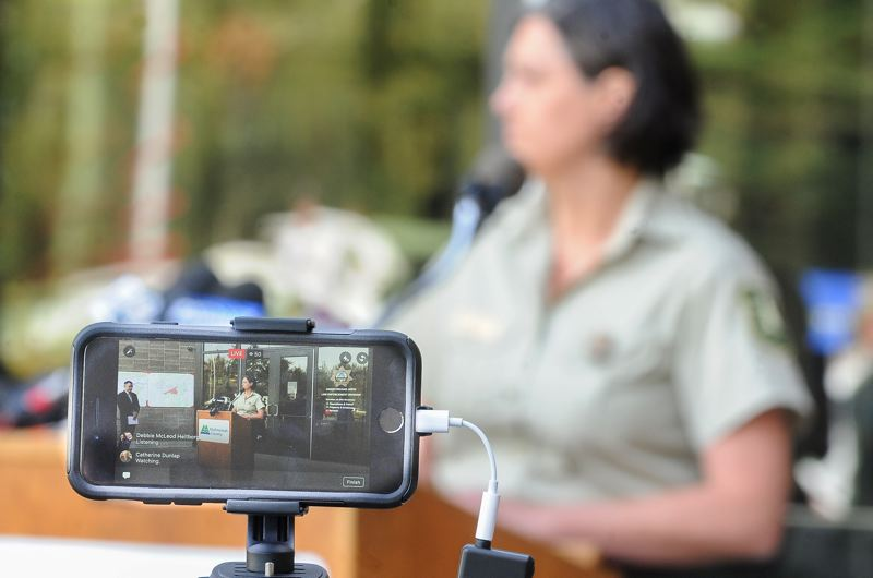 FILE PHOTO - A Facebook Live video streams during a press conference regarding the Eagle Creek wildfire.